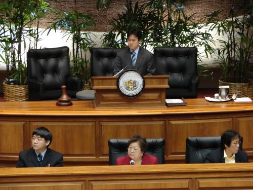 Rep. Jon Riki Karamatsu presiding over the House floor session as Vice Speaker of the House during the 2007 Legislative Session.
