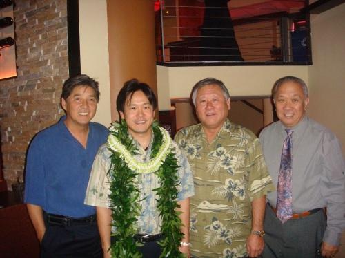Rep. Jerry L. Chang, Rep. Jon Riki Karamatsu, Rep. Ken Ito, & Speaker Calvin K.Y. Say at Karamatsu's March 11, 2009 fundraiser at Bonsai Restaurant.