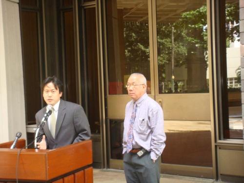 Rep. Jon Riki Karamatsu speaking on his health information technology bill with Speaker Calvin K.Y. Say