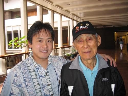"""Rep. Jon Riki Karamatsu and former Sen. Nadao """"Najo"""" Yoshinaga in April 2006."""
