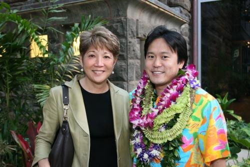 Sen. Carol Fukunaga and Rep. Jon Riki Karamatsu at Karamatsu's 2008 fundraiser at Bishop Museum.