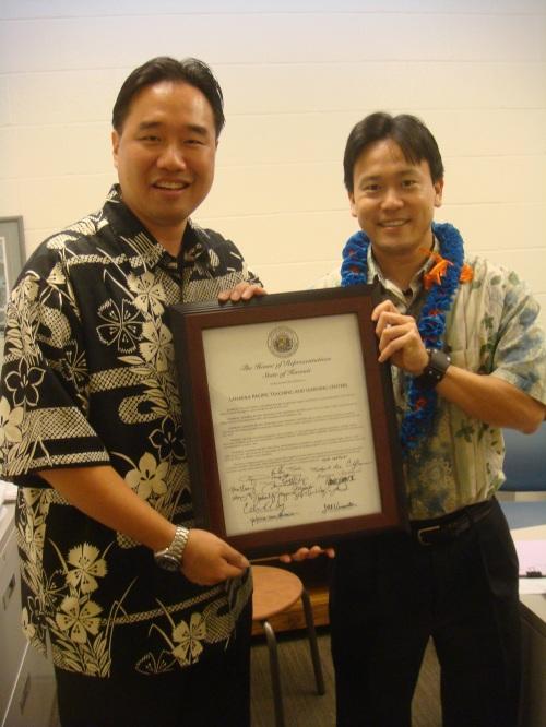 Lanikila Meals on Wheels Director Brandon R. Mitsuda and Rep. Jon Riki Karamatsu