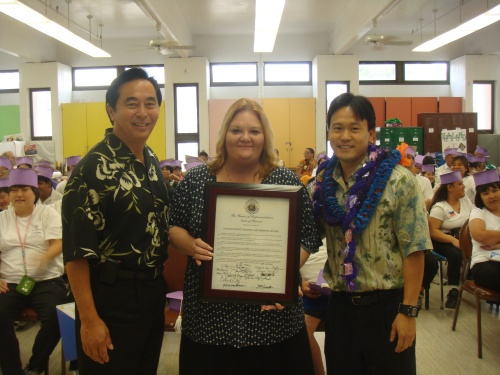 Board Member of Lanikila, Lanikila TLC Director Dawn Burgener, and Rep. Jon Riki Karamatsu