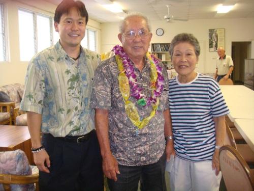 Rep. Jon Riki Karamatsu, Robert Arakaki (President of the 100th Infantry Battalion) and his wife.