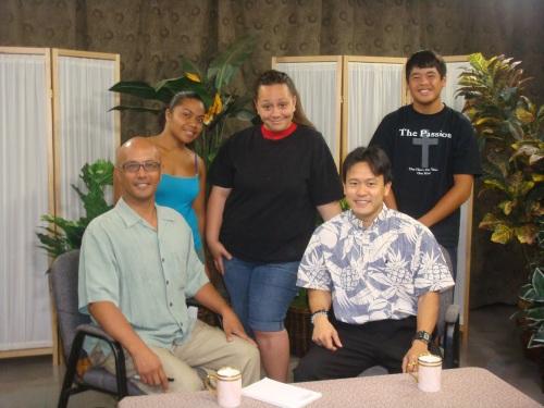 Sen. Will Espero, Rep. Jon Riki Karamatsu, and Waipahu Intermediate School Olelo television crew.