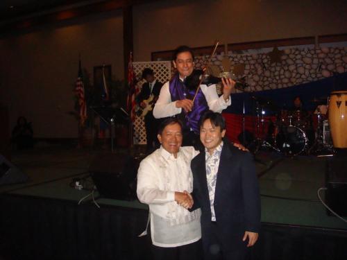 Philippine Consul General Ariel Y. Abadilla, Rep. Jon Riki Karamatsu, & violinist performer