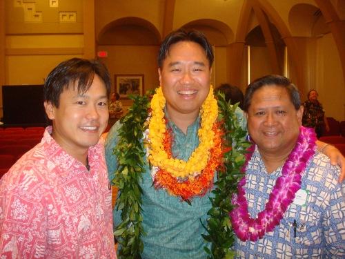 Rep. Jon Riki Karamatsu and neighborhood board members Brandon R. Mitsuda and Ben Cabreros (former state representative)