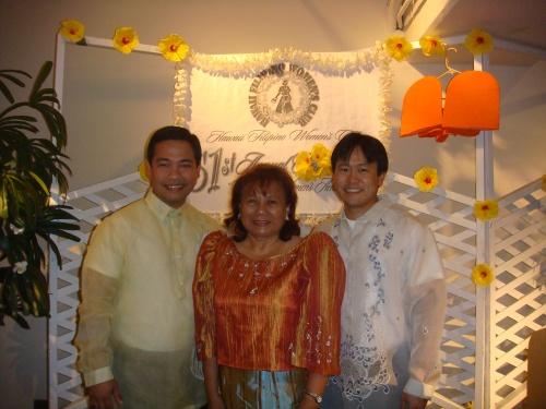 MC Eric Barsatan, President Jenny Alconcel Quezon, and Rep. Jon Riki Karamatsu