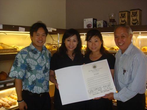 Rep. Jon Riki Karamatsu, Pany Owners Alice Yeung & Annie Yeng, and Speaker Calvin K.Y. Say