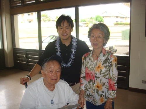 "Rep. Jon Riki Karamatsu, Masa Hokama, and Charlene Hokama.  Masa is a 442nd Regimental Combat Team veteran and friend of Senator ""Najo"" Yoshinaga"