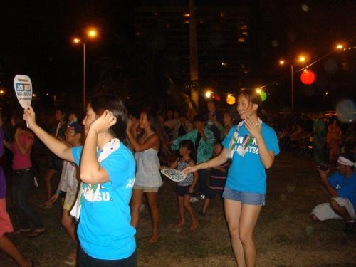 Ellen Tengan and Tricia Murakami (formerly Masaki) dancing.
