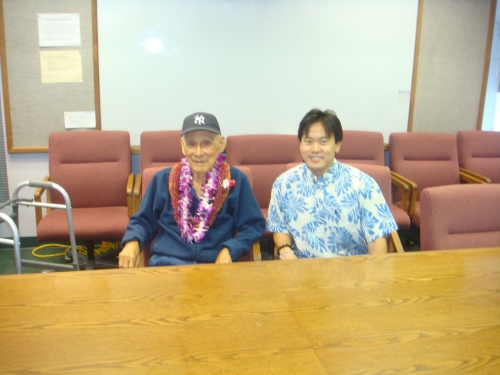 "Sen. Nadao ""Najo"" Yoshinaga and Rep. Jon Riki Karamatsu at senator's birthday party at HTDC in August of 2009."