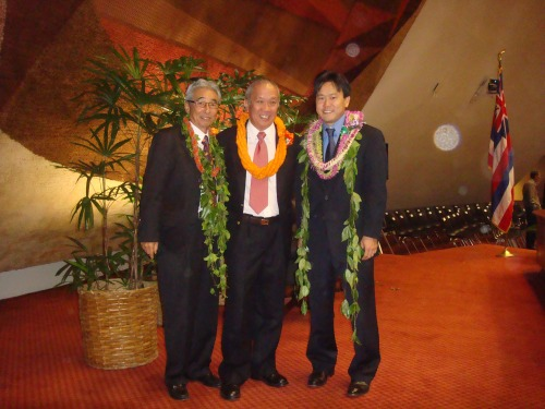 Rep. Clift Tsuji Speaker Calvin K.Y. Say, & Rep. Jon Riki Karamatsu at the 2009 Legislative Opening Day on Jan. 21, 2009.