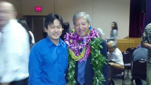 Honolulu Prosecuting Attorney Keith M. Kaneshiro and I at his fundraiser at Blaisdell Center on September 14, 2012.