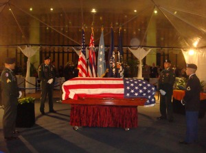 U.S. Senator Daniel K. Inouye lying in state at the Hawaii State Capitol.