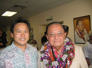Jon Riki Karamatsu and U.S. Sen. Daniel K. Inouye on 10/08/2004 at Inouye's campaign headquarters.