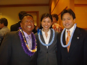 Deputy Prosecuting Attorneys Allen Yadao, Tricia Nakamatsu, and Jon Riki Karamatsu at the 2012 Honolulu Prosecuting Attorney inauguration ceremonies at Ali'i Place in Honolulu on January 2, 2013 from 12:00 P.M.