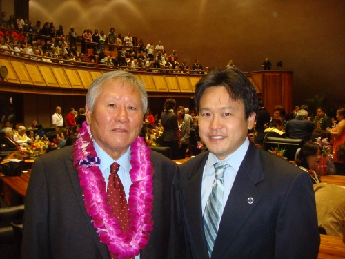 Hawaii Representative Ken Ito and Honolulu Deputy Prosecuting Attorney Jon Riki Karamatsu on the House floor at the Hawaii State Capitol on Wednesday, January 16, 2013 for the 2013 Hawaii Legislative Opening Day.