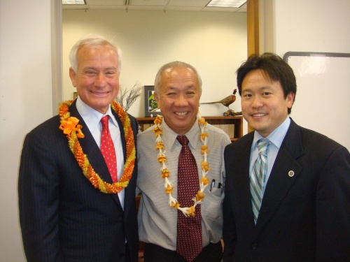 Honolulu Mayor Kirk Caldwell, Hawaii Speaker Calvin K.Y. Say, and Honolulu Deputy Prosecuting Attorney Jon Riki Karamatsu at Say's office at the Hawaii State Capitol on Wednesday, January 16, 2013 for the 2013 Hawaii Legislative Opening Day.