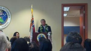 Honolulu Prosecuting Attorney Keith M. Kaneshiro speaking at the inauguration ceremony for him and all deputy prosecuting attorneys at Ali'i Place, Suite 150, Honolulu, Hawaii 96813 from 11:45 A.M. to 1:00 P.M. Keith spoke about creating an environment protection unit, opening the Family Justice Center, and continuing to protect the people and animals from violence, among other things.