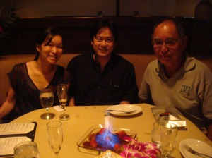My younger sister Lara, myself, and my dad celebrating my dad's birthday at Ruth Chris on the evening of 2/8/2013. My mom and younger sister Mia were in San Mateo, California at the time.