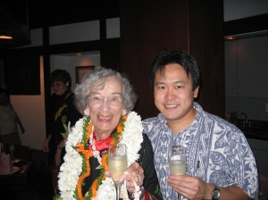 Celebrating Representative Helene Hale's 88th birthday in 2006 at a Japanese restaurant in Waikiki, Hawaii.