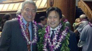 Former Hawaii Senate President Norman Mizuguchi and I on Hawaii Senate floor for the opening day of the Hawaii State Legislature on January 16, 2014.