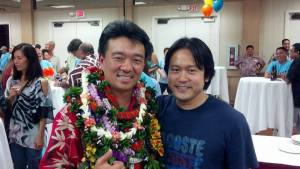 With Lt. Governor Shan S. Tsutsui at his headquarters at Pagoda Restaurant on Primary Election Day on 8/9/2014.