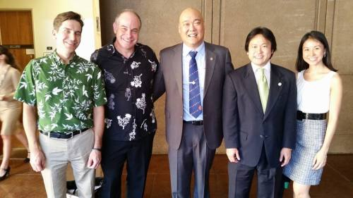 The Team: Kauai Prosecuting Attorney Justin Kollar, Hawaii Prosecuting Attorney Mitch Roth, Maui Deputy Prosecuting Attorney Richard Minatoya, Honolulu Deputy Prosecuting Attorney Jon Riki Karamatsu, and Honolulu Deputy Prosecuting Attorney Tricia Nakamatsu at Hawaii Legislative Opening Day on 1/21/2015.