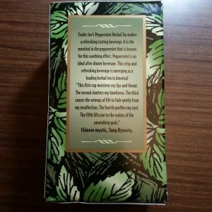 Trader Joe's Peppermint Herbal Tea.