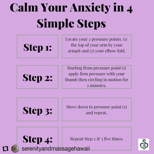 Here's a massage technique by Serenity and Massage to help you reduce your anxiety and stress!