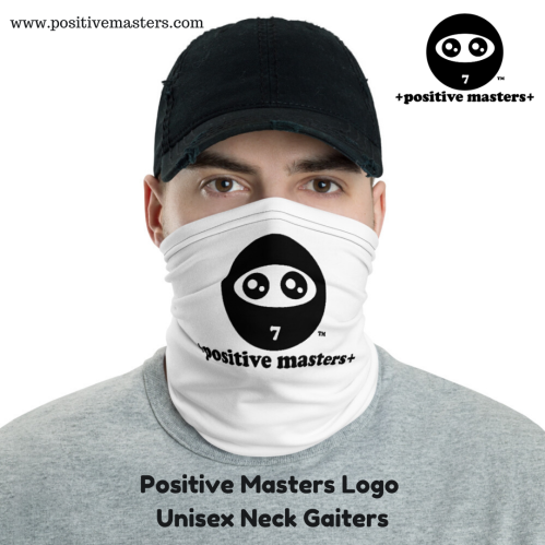 The Positive Masters Logo Unisex Neck Gaiter is a versatile accessory that can be used as a face covering, headband, bandana, wristband, and neck warmer.