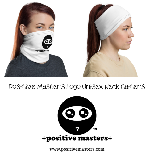 Positive Masters Logo Unisex Neck Gaiters worn by a female model