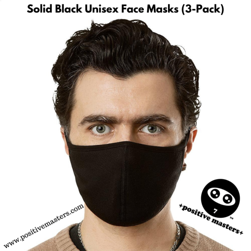 +positive masters+ Solid Black Unisex Face Masks (3-Pack)⁠