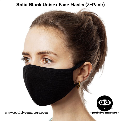 +positive masters+ Solid Black Unisex Face Masks (3-Pack).