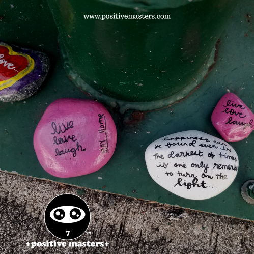 Stones with heartwarming messages placed under our mailboxes during these challenging times with COVID-19.